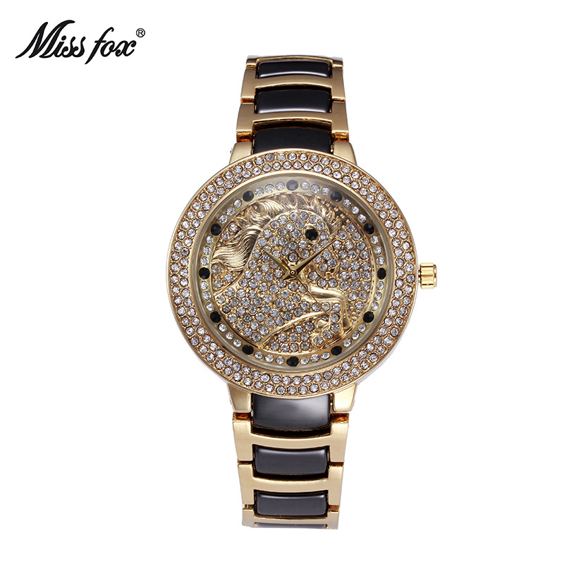 Miss fox new watch classic ceramic steel ladies bracelet top brand diamonds waterproof quartz watch women fashion luxury watches