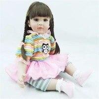 22 inç 55 cm Silikon bebek reborn bebekler, gerçekçi doll reborn bebekler oyuncaklar Sevimli baykuş Desenli giysi bebek