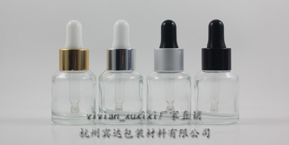 15ml clear Glass Essential Oil Bottle With aluminum dropper cap.the bottom of bottle is thin,Essential Oil Container
