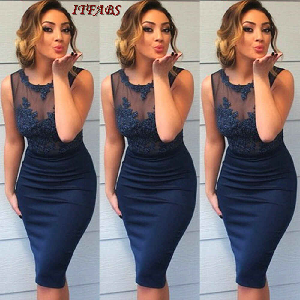 Women Evening Party Dresses Dress 2019 Blue Lace New Style Package Hip Bodycon Knee-Length Formal Wrap Dresses