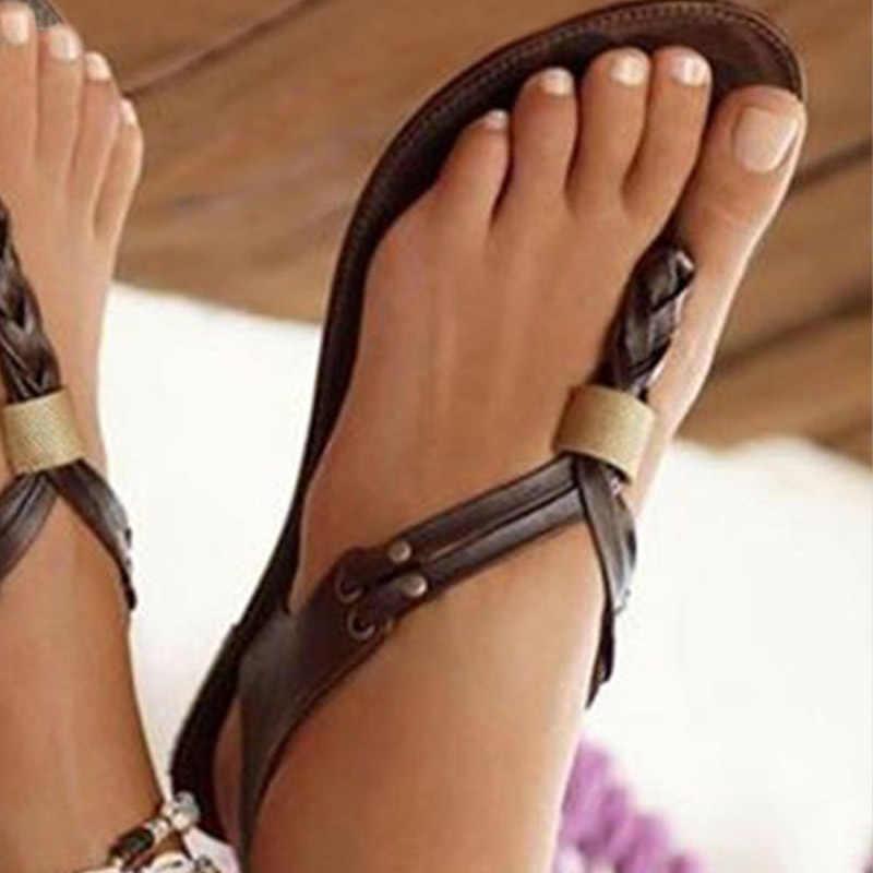 WETKISS Gladiator รองเท้าแตะผู้หญิงฤดูร้อนสานแบน 2019 ใหม่รองเท้าแตะ Flip Flop รองเท้าแฟชั่นผู้หญิง Rivet รองเท้าผู้หญิง