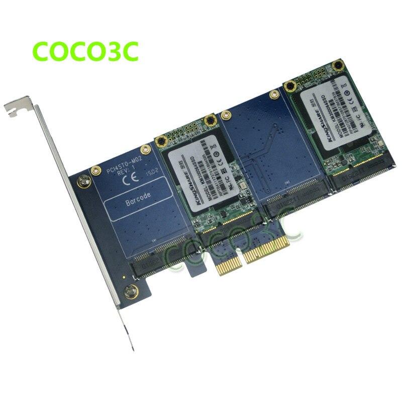Quad mSATA SSD to PCI e Controller Card RAID 0 1 10 Marvell