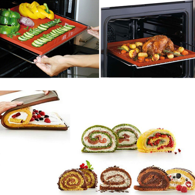 31*27cm Non-Stick Silicone Multifunction Oven Mat Baking Cake Pad Swiss Roll Bakeware Tools WholeSale