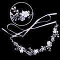 Engagement Stretchable Flower Crystal Rhinestone Hairband Wedding Hair Accessories For Women Bridal Hair Jewelry