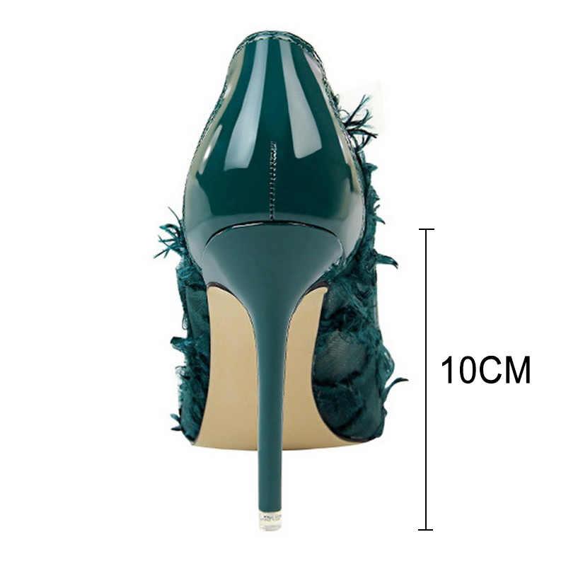 Bigtree Ayakkabı Seksi Boş Kadın Pompaları Moda Kürklü Yüksek Topuklu Kadın Ayakkabı Düğün Ayakkabı Kadın parti ayakkabıları Siyah Stiletto