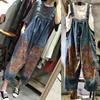 Free Shipping 2018 New Fashion Women Wide Leg Loose Jumpsuits And Rompers With Pockets Printed Plus
