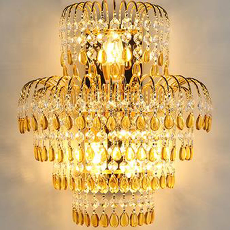 цена на Sconce Luxury Crystal Wall Lamp Modern Style Creative Living Room Wall Sconce Gold Bedroom Bedside Lights Classical Wall Lamp