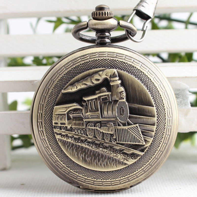 Bronze Steampunk Skeleton Male Clock Train Engine Mechanical Pocket Watch Chain Double Open Face Retro Pocket Watch TJX082 steampunk skeleton mechanical pocket watch men vintage bronze clock necklace pocket