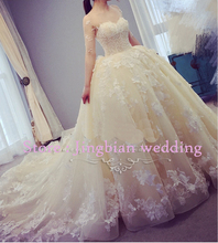 Vestidos De Novia 2016 Long Sleeve Lace Wedding Dress Ball Gown Wedding Dresses 2016 Robe De Mariage Mariee Wedding Gowns