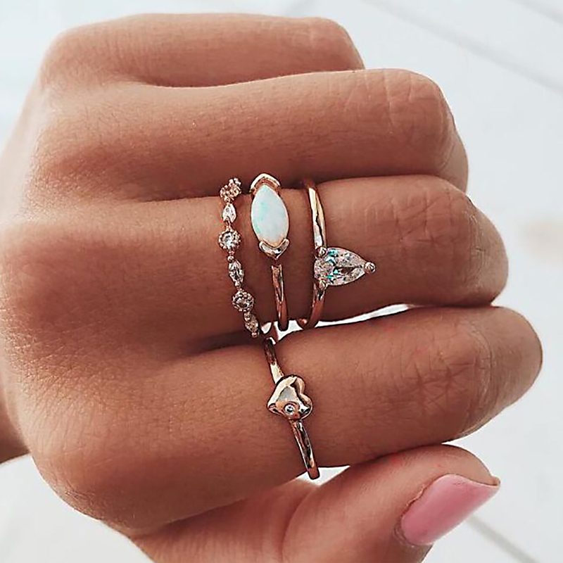 Women Classic Open Cuff Rings Set Red Ethnic Style Star Sunflower Shark Rings Lady Exquisite Jewelry CX17 iPhone XS