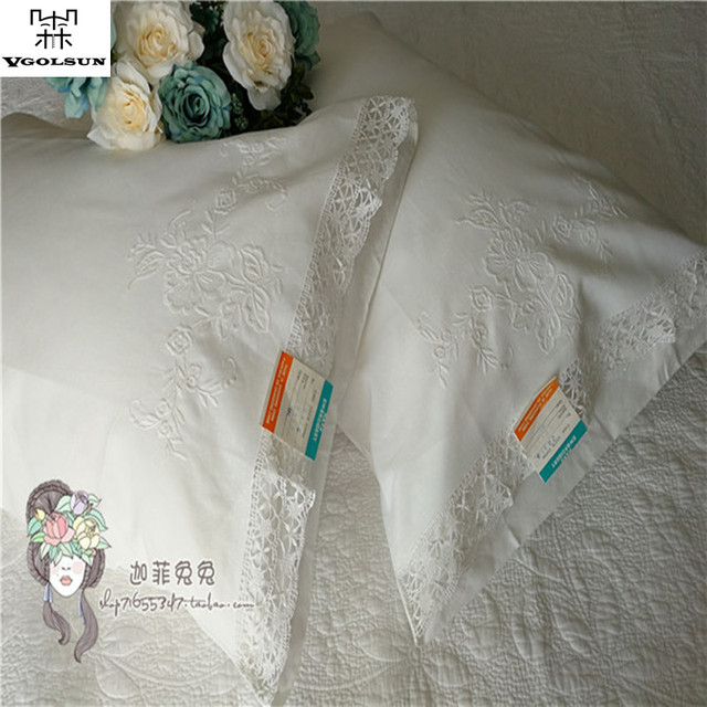 Hot Sale Decorative 100%Cotton Battenburg Lace Embroidered Handmade Long  White Pillow Case With Size