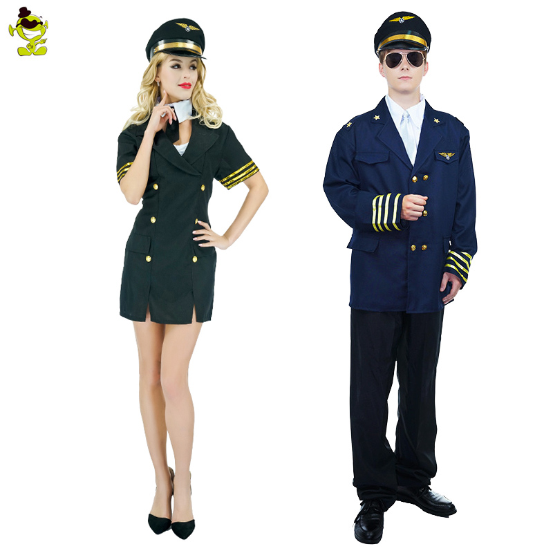 Qlq Voksen Airline Pilot Kostumer Man Og Kvinde Ensartet-5295