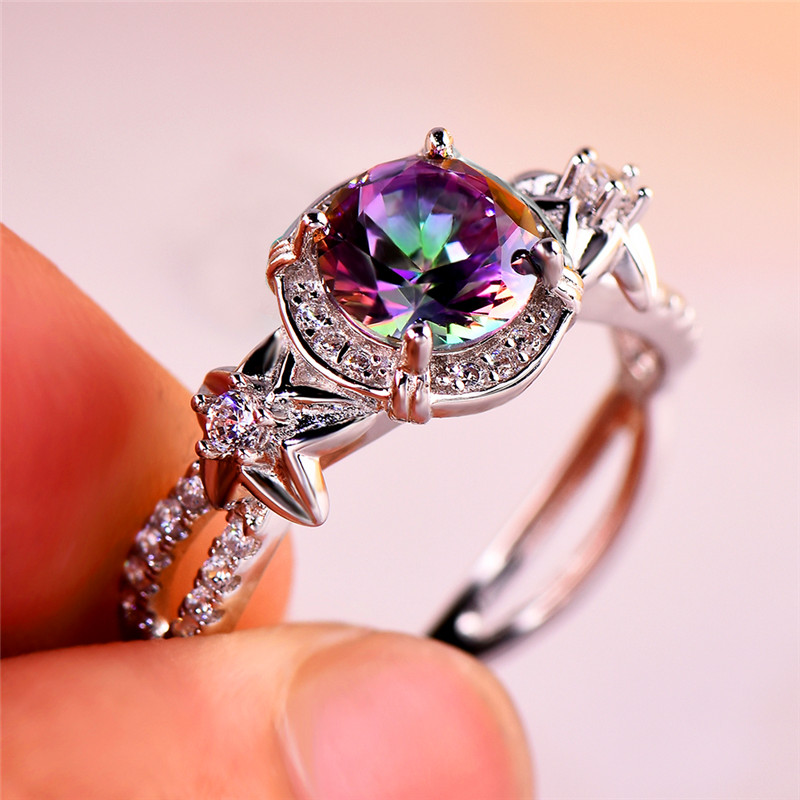 Mystery Female Rainbow Stone Ring Cute 925 Sterling Silver Flower Ring Vintage Wedding Bands Promise Engagement Rings For Women