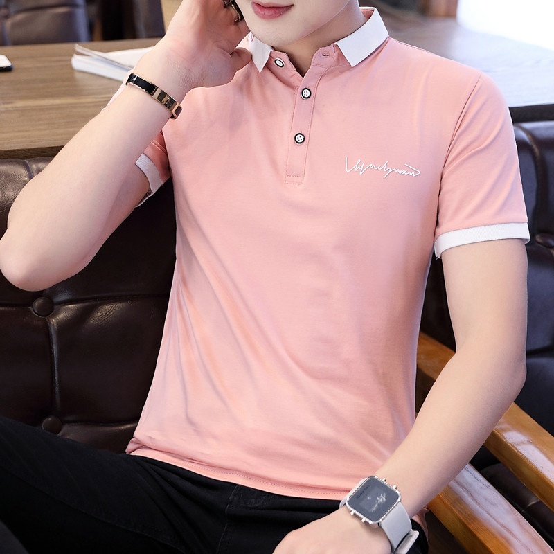Summer lapel new 2019 half sleeves handsome male   POLO   shirt clothes men's shirt