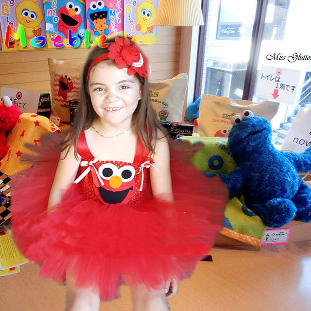 Online Shop Cute Cartoon Girls Party Dress Baby Kids Cosplay Elmo Tutu Dresses  Christmas Costume Children New Year Pageant Ball Gown  c7c9457bf6ca
