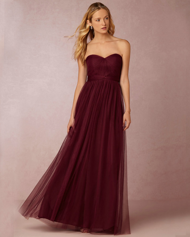 Annabelle Rose Shadow Grey Wine Colored Bridesmaids