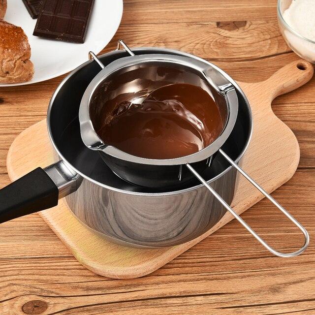 Dapur Stainless Steel Butter Chocolate Melting Pot Pan dengan Pegangan Tungku Pemanas Susu Mangkuk Baking Pastry Alat Boiler Ganda