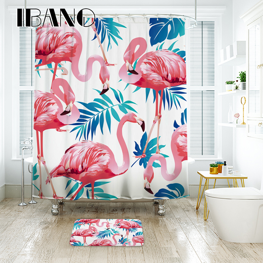 Flamingo bathroom decor - Ibano Tropical Flamingo Pattern Shower Curtain Waterproof Polyester Fabric Curtain For The Bathroom Accessories Home Decor