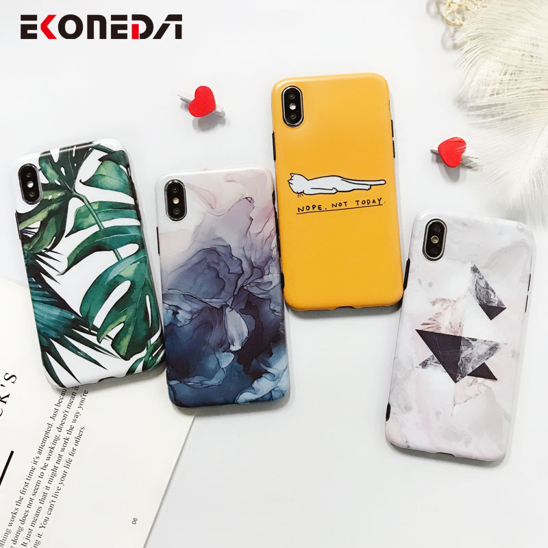 EKONE Glossy TPU Case For iPhone 7 Plus Case Silicone Leaves Feather For Coque iPhone 7 Case Soft Cover For iPhone 6 6S 6Plus
