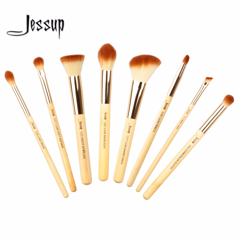 Jessup 8pcs Beauty Bamboo Professional Makeup Brushes Set Pincel Maquiagem Foundation Stippling Highlight Cheek