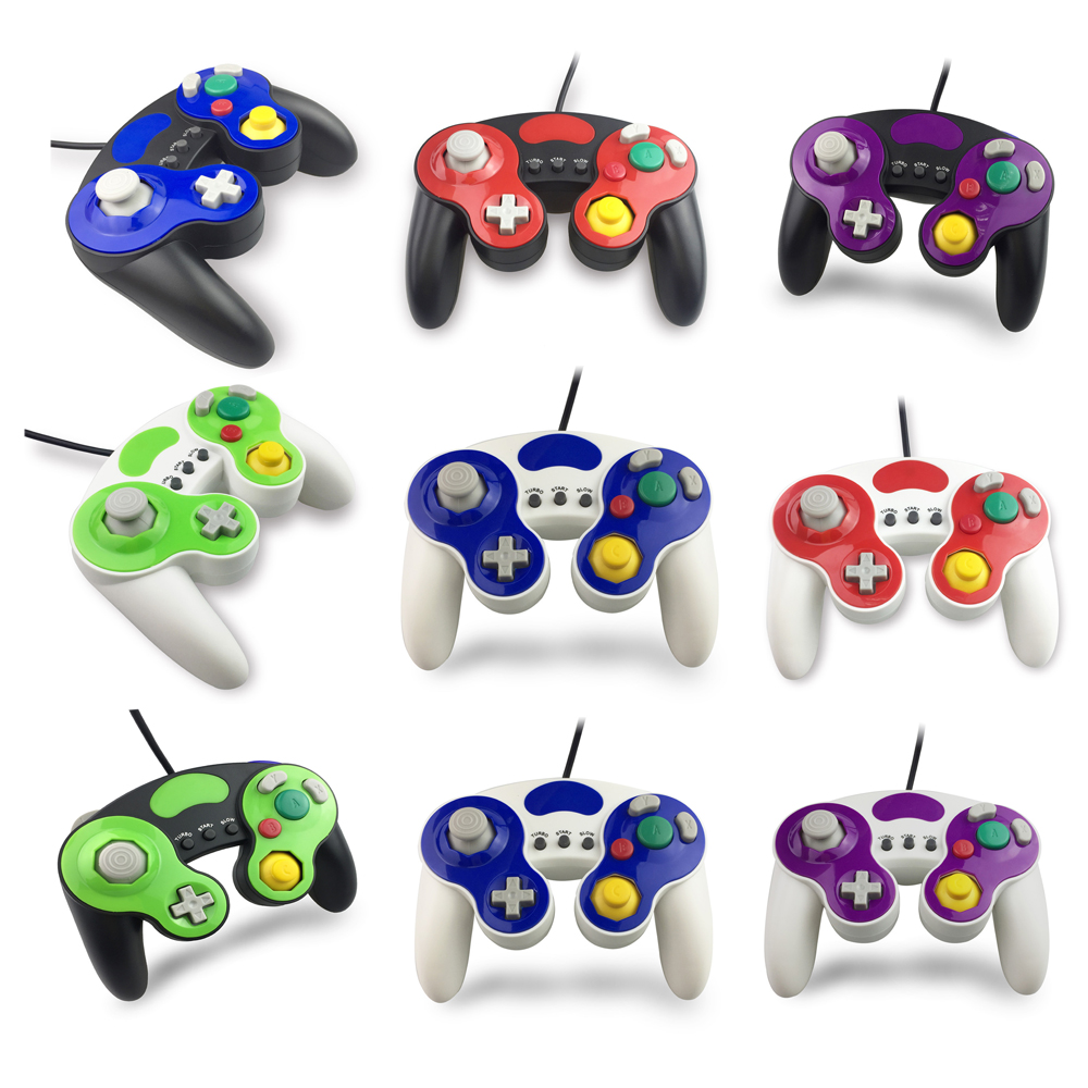50sets Wired Gamepad Controller With Three Button for Game Cube for N G C Handheld Joystick