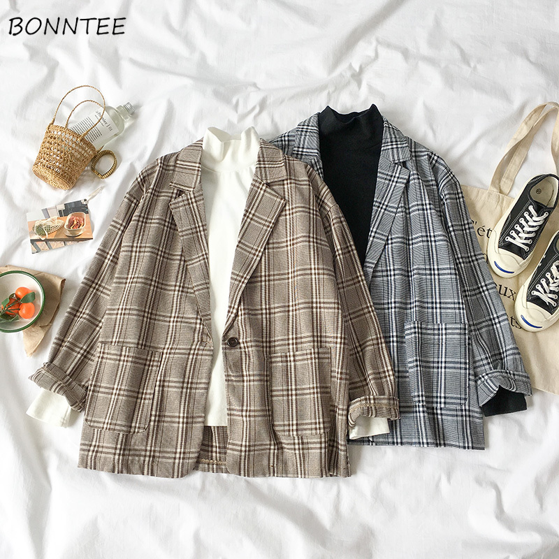 Blazers Women Korean Version Plaid Female Loose Elegant All-match Students Retro Womens 2019 Soft Outside Leisure Single Button