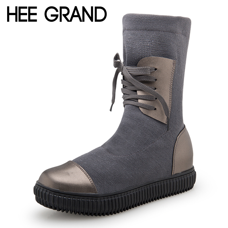 HEE GRAND Knitting Platform Women Ankle Boots Lace up Winter Ladies Fashion Shoes Woman Flat with Round toe Shoes Women XWX6816 hee grand solid patent leather women oxfords british new fashion platform flats casual buckle strap ladies shoes woman xwd5833