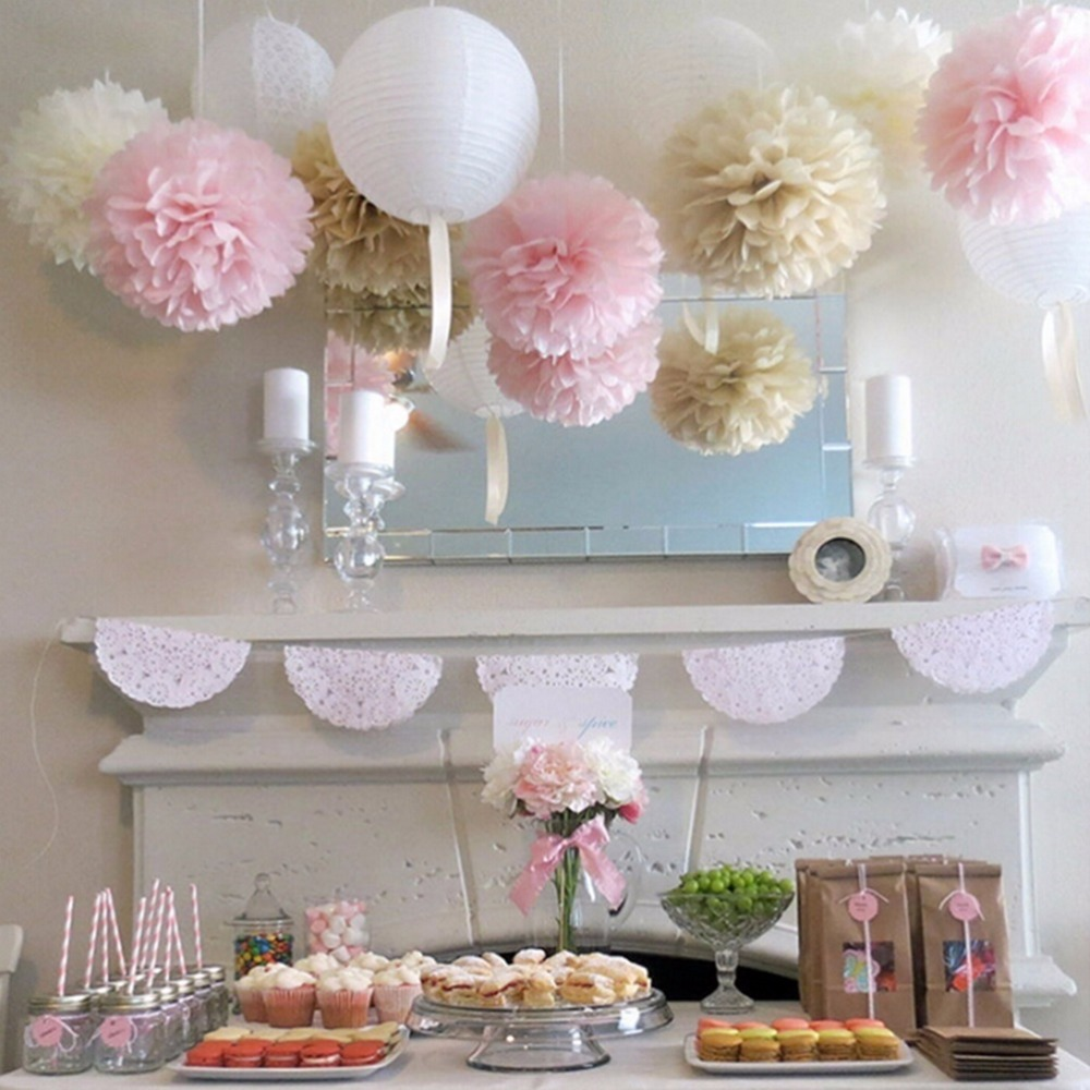 5pc 20cm White Tissue Paper Pom Poms Paper Flowers Ball Pompom