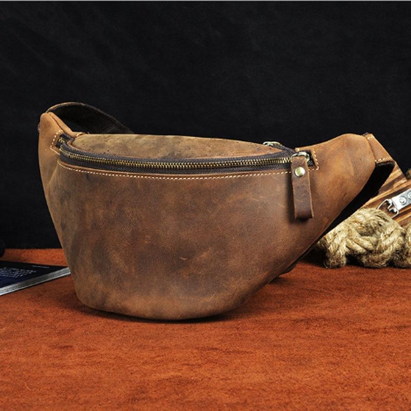 Crazy Horse Cowhide Men Waist Chest Bag New Vintage Genuine Leather Messenger Shoulder Bags Purse Pouch