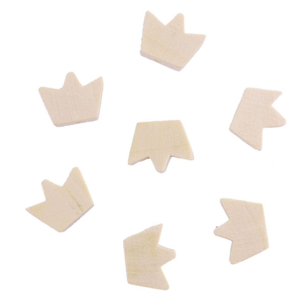 DoreenBeads Natural Wood Spacer Beads Crown Pattern DIY Components 17mm( 5/8) x 13mm( 4/8), Hole: Approx 2.4mm, 100 PCs