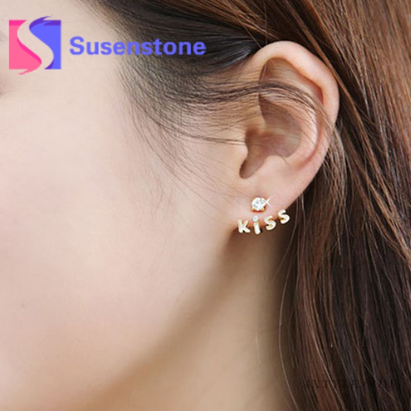 1Pair Lovely Gold Crystal Rhinestone Kiss Letter Ear Stud Fashion Design Double Side Earrings for Women Jewelry Wholesale 2018 золотые серьги по уху