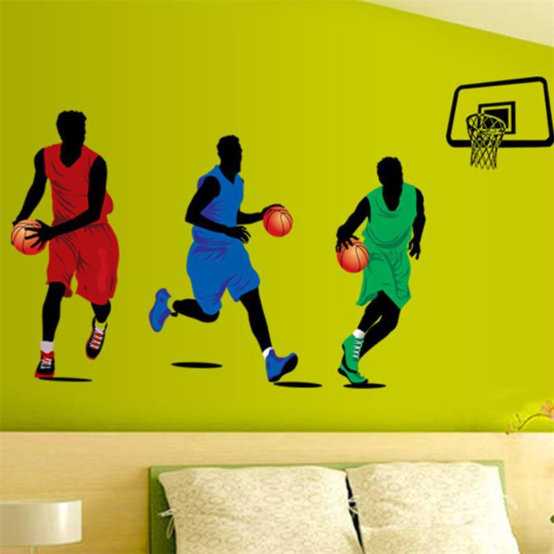 Us 6 59 22 Off Play Basketball Mural Wall Sticker Paper 9193 Kids Room Decor Sports Boy Bedroom Poster Decorative Decals In Stickers