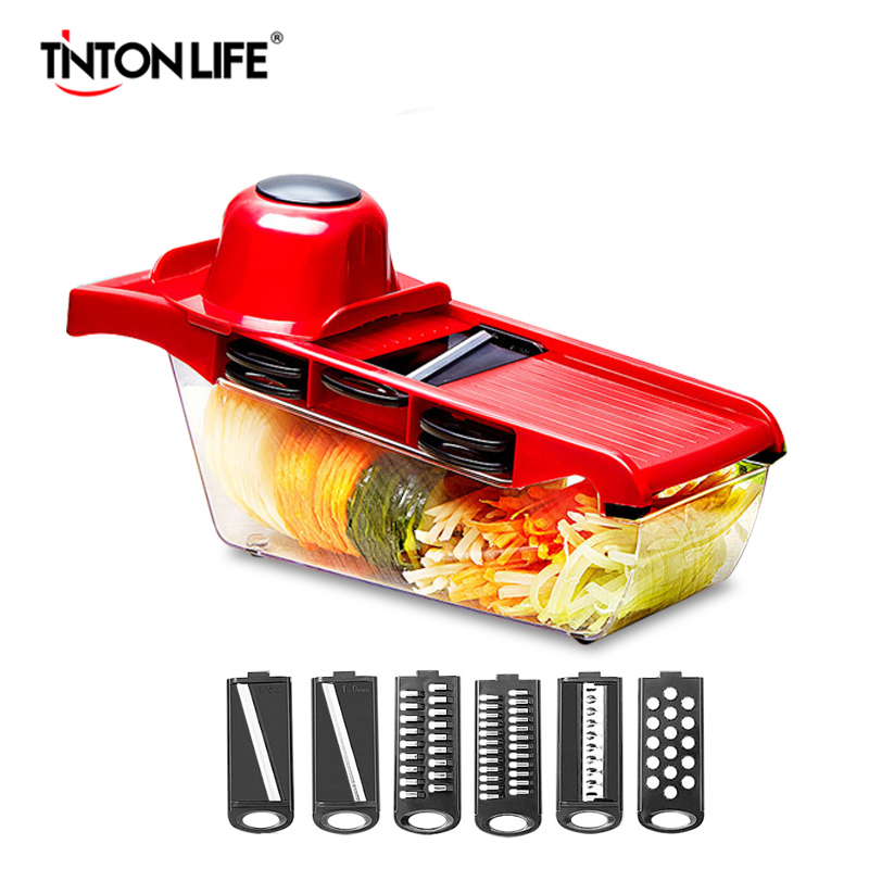 TINTON LIFVE Vegetable Cutter Steel Blade Mandoline Slicer Manual Potato Peeler Carrot Cheese Grater Dicer Kitchen Accessories