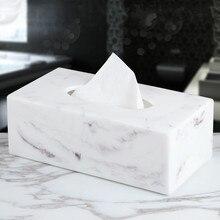 Нордическая креативная мраморная коробка для салфеток из смолы для гостиной, журнальный столик, поднос для салфеток, Современная коробка для хранения бумажных полотенец для отеля, домашний декор