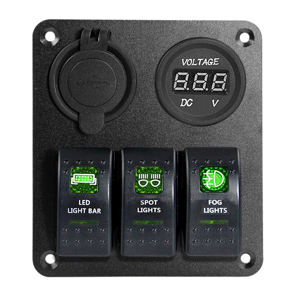 Lossmann 3 Gang Value Pack Switch Panel Set 31a Dual Usb Charger 12v Wiring Diagram Led Voltmeterled Light Bar Spot Fog In Car Switches Relays From