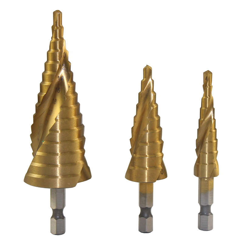 6.35mm Hex Shank 4-12mm/4-20mm/4-32mm  Taper Point Drill Bits Titanium Coated Spiral Grooved Step Cone Drill Bits Set -3PCS 3 175 12 0 5 40l one flute spiral taper cutter cnc engraving tools one flute spiral bit taper bits