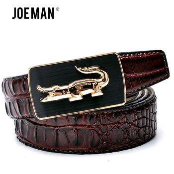 Fashion Crocodile Pattern Belt Luxury Alligator Automatic Buckle Men's Belts Without Buckle Tooth On Strap Novelty Four Color