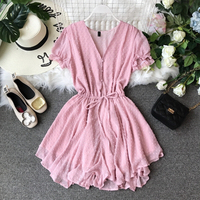 2019 summer new v neck pink women jumpsuits and rompers v neck sexy short playsuits hot beach clothing top quality