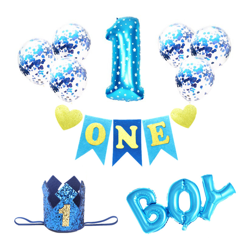 First Birthday Boy Party Decor Foil Balloons Baby Shower 1st Birthday Party Decorations Kids 1 Year 1 Birthday Boy Decorations