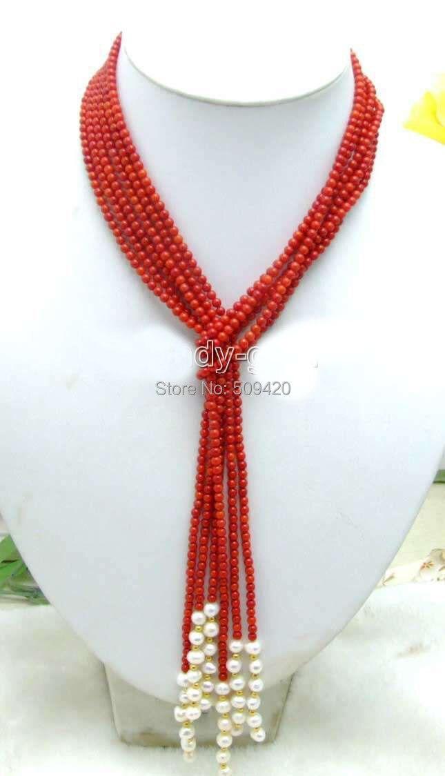 """W и O655 >> BSALE красивая 4"""" природные 3 Strands красный коралл и белый 6- 7 мм жемчужное ожерелье"""