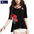 Summer New Large Size Women Fashion T Shirt Candy Color Three-dimensional Embroidered Skirt-Design TopS Tee Half Sleeve T-Shirt