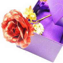 Fashion New 1Pc Romantic RED Flower 24K Gold Plated Rose With Gift Box & Golden Certificate For Valentine's day(China)