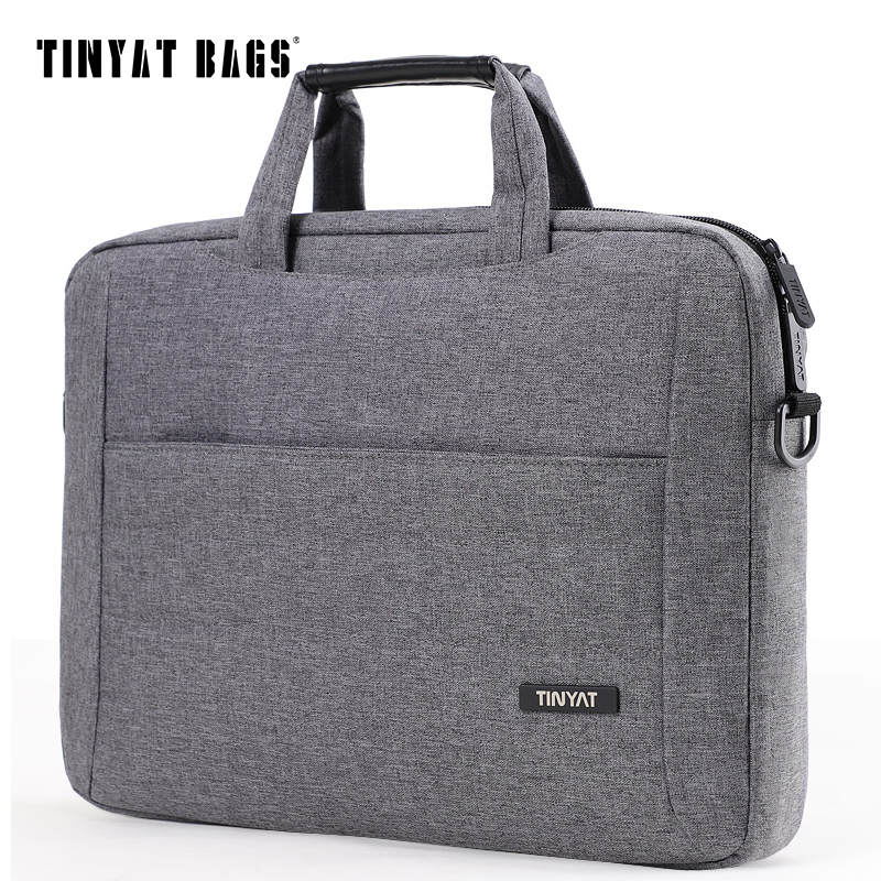 TINYAT 14 Inch Laptop Shoulder Bag For Man Handbag Briefcase Nylon Laptop Case Women Crossbody Bag Waterproof Sling Bag Gray 513