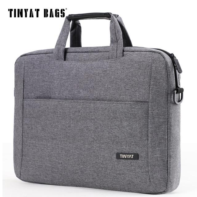 TINYAT 14 polegada Laptop bolsa de ombro para o Homem Caso Mulheres Crossbody saco da Bolsa Maleta Bolsa de Laptop Nylon saco do Estilingue Cinza À Prova D' Água 513