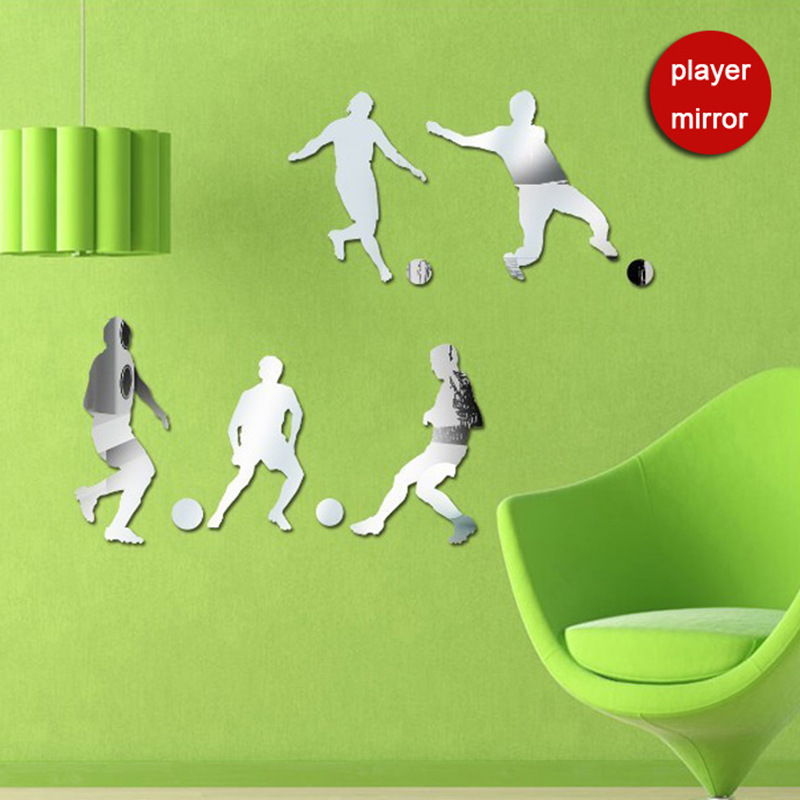 Funlife 76x60cm 31x24in  5 Boys Play Football Together Mirror Wall  Sticker DIY Boys. Popular Football Mirrors Buy Cheap Football Mirrors lots from