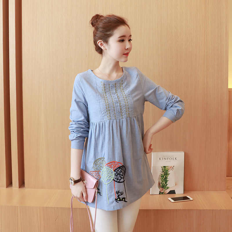 32dd06ad56 Maternity Clothes Spring Autumn Fashion Embroidery Loose Office Blouses Top  Shirts for Pregnant Women Cotton Pregnancy