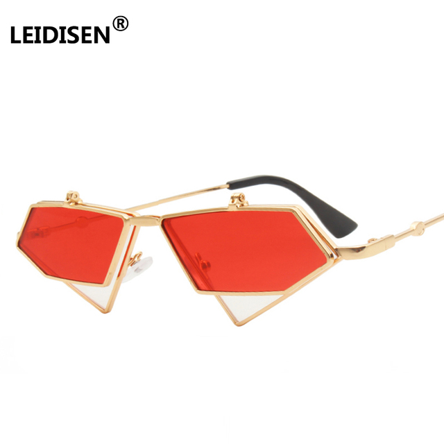08195694539 LEIDISEN Flip Up Steampunk Sunglasses Men Women Vintage Metal Frame  Triangle Sunglass Female Brand Fashion Glasses UV400