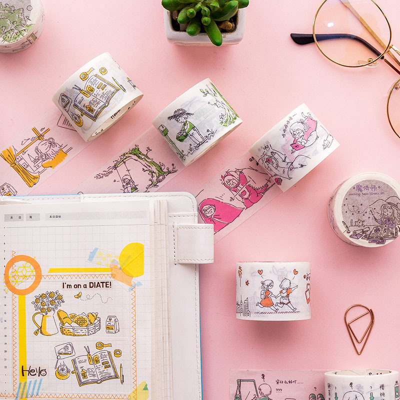 3.5cm*5M Salt Girls'Funny Life Washi Tape DIY Decoration Scrapbooking Planner Masking Tape Adhesive Kawaii Japanese Stationery