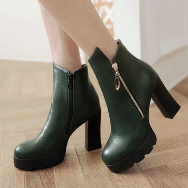 Winter Women Boots Fur Platform Chunky High Heel Boots Shoes Round Toe Ankle Boots Zipper Solid Wine Green Size 9 10 43 E-D0