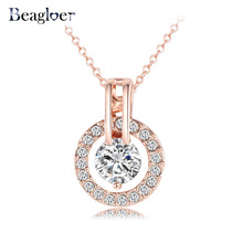 Beagloer Women Jewelry Classic Necklace Trendy Rose Gold Color Genuine Austrian Crystal Round Pendant Necklace NL0455-A